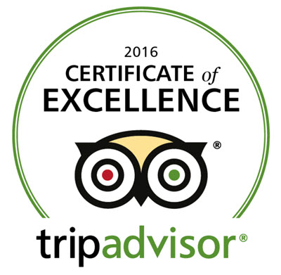 Tripadvisor have awarded us a Certificate of Excellence 2016
